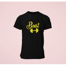 beauty and beast half sleeves round neck couple T shirts